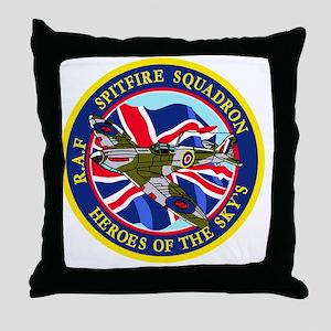SPITFIRE w.UK flag Throw Pillow