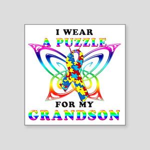 "I Wear A Puzzle for my Gran Square Sticker 3"" x 3"""