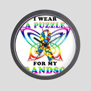 I Wear A Puzzle for my Grandson Wall Clock