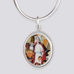 nurse collage poster Silver Oval Necklace