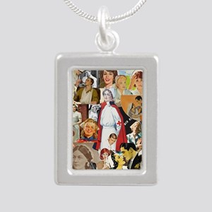 nurse collage poster Silver Portrait Necklace