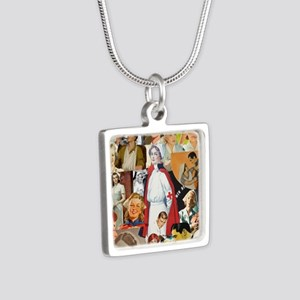 nurse collage poster Silver Square Necklace