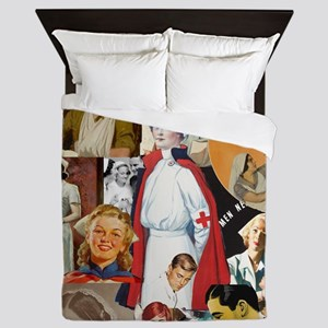 nurse collage poster Queen Duvet