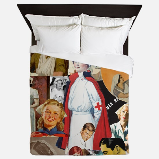 nurse collage poster Queen Duvet
