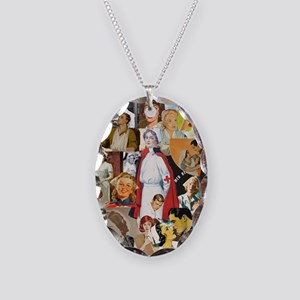 nurse collage poster Necklace Oval Charm