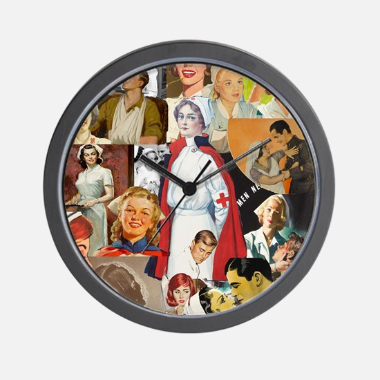 nurse collage poster Wall Clock