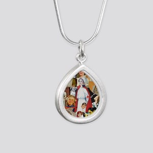 nurse collage poster Silver Teardrop Necklace