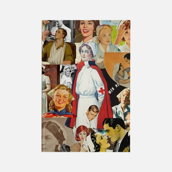 nurse collage poster Rectangle Magnet