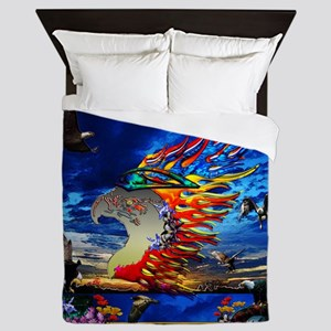 Good Hunting Eagle Sky background clea Queen Duvet