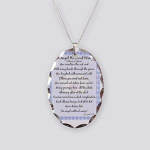 An Angel without wings BLUE Necklace Oval Charm