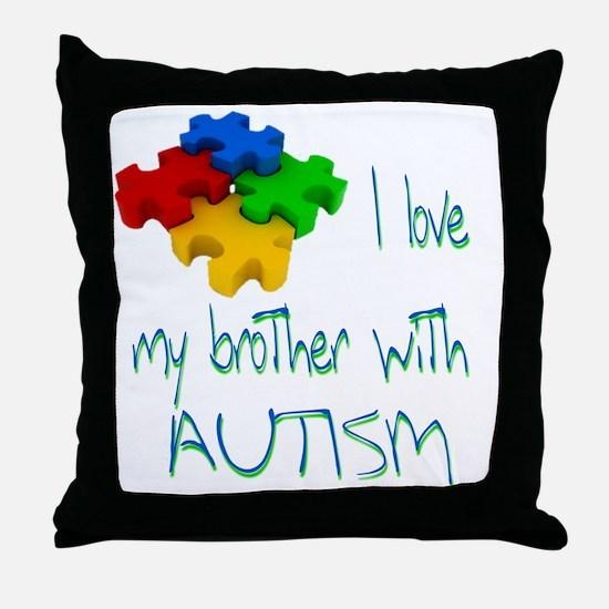I love my bro autism Throw Pillow