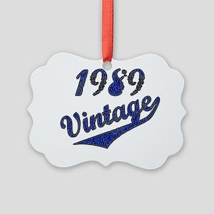 1989 Vintage Blue Picture Ornament