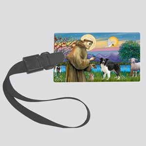 LIC-St Francis - Border Collie s Large Luggage Tag