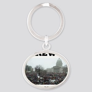 Screw us and we multiply Oval Keychain