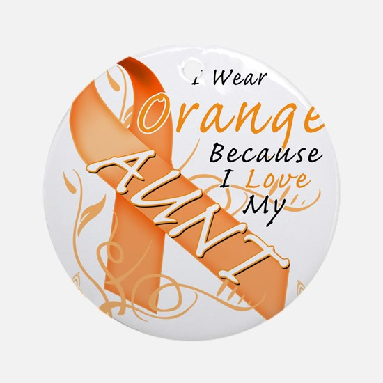 I Wear Orange Because I Love My Aun Round Ornament