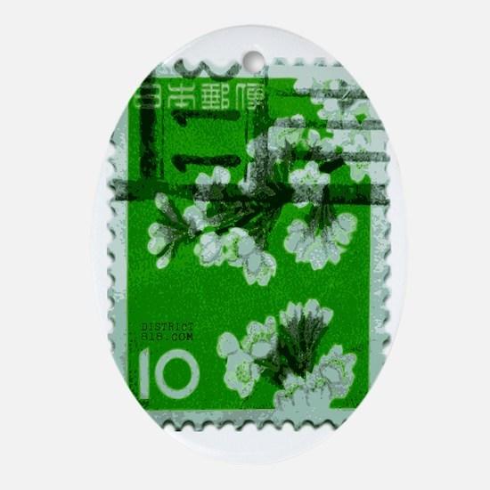 flower_green Oval Ornament