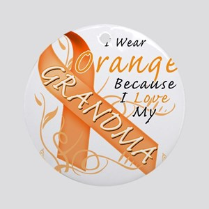 I Wear Orange Because I Love My Gra Round Ornament
