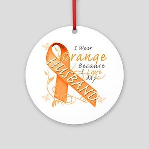 I Wear Orange Because I Love My Hus Round Ornament