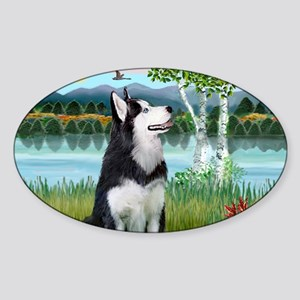 LIC-Birches - Siberian Husky Sticker (Oval)