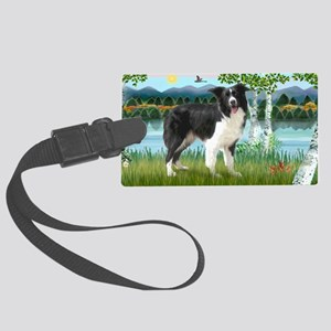 LIC-Birches-Border Collie (stand Large Luggage Tag