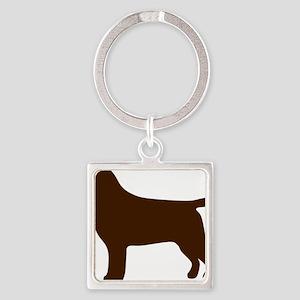 ChocolateLabSilhouette Square Keychain