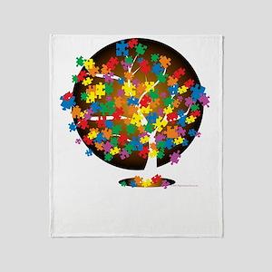 Autism-Tree-blk Throw Blanket