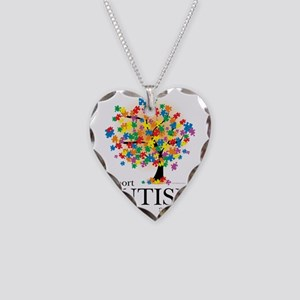 Autism-Tree Necklace Heart Charm