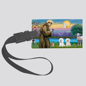 LIC-St Francis-Two Bichon Frise Large Luggage Tag