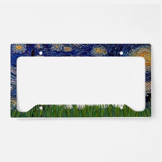 LIC-StarryNight-TwoBichonFris License Plate Holder