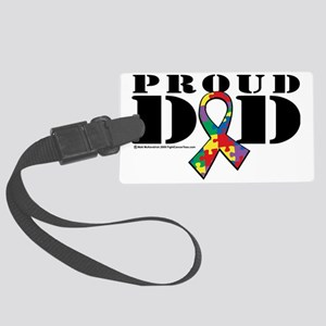 Autism-Proud-Dad Large Luggage Tag