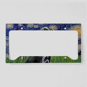 LIC-StarryNight-BlackLabrador License Plate Holder