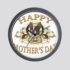 Happy Mothers Day Boston Terrier Wall Clock