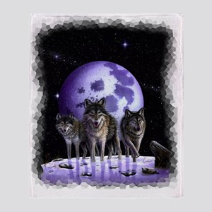 Wolf pack on Moon Throw Blanket