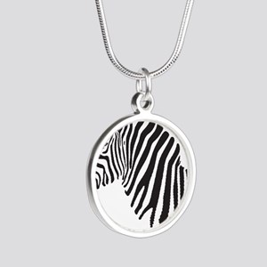 Zebra Silver Round Necklace