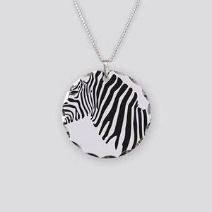 Zebra Necklace Circle Charm