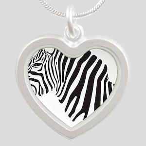 Zebra Silver Heart Necklace