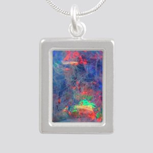 opal diamond stadium bla Silver Portrait Necklace