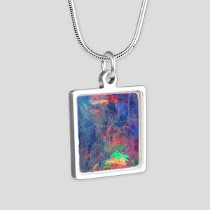 opal diamond stadium blank Silver Square Necklace