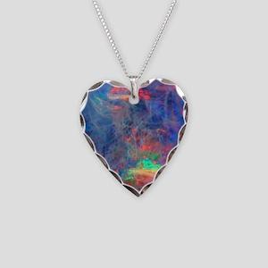 opal diamond stadium blanket Necklace Heart Charm