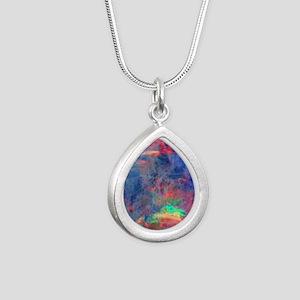 opal diamond stadium bla Silver Teardrop Necklace