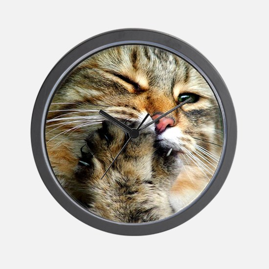 Tabby Cat Paw Wall Clock