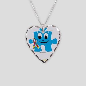 Autism-Cartoon-Puzzle-blk Necklace Heart Charm