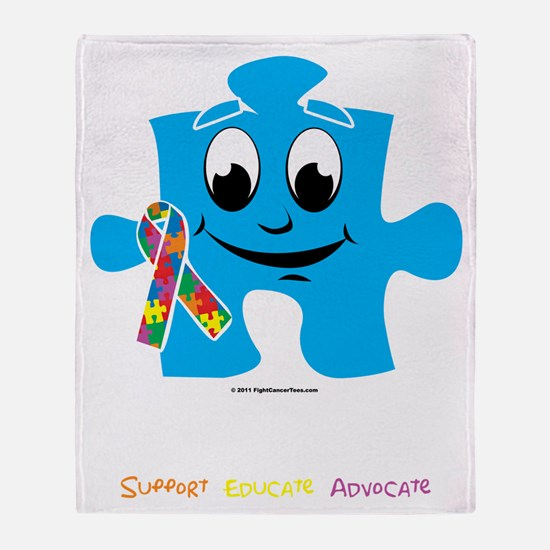 Autism-Cartoon-Puzzle-blk Throw Blanket