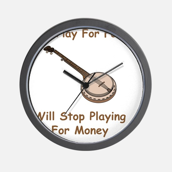 Banjo For Money Brown Wall Clock
