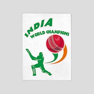 cricket india world champions 5'x7'Area Rug