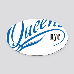 SA_QUEENSblu10x10_220 Oval Car Magnet