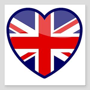 "Heart England Square Car Magnet 3"" x 3"""
