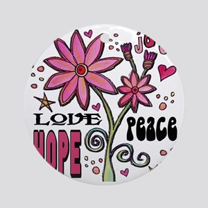 peace love joy flower Round Ornament