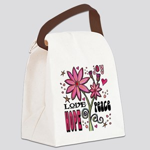 peace love joy flower Canvas Lunch Bag