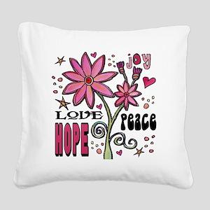 peace love joy flower Square Canvas Pillow